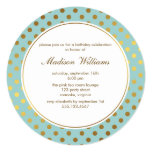 "Mint Faux Gold Foil Polka Dots Pattern 5.25"" Square Invitation Card"