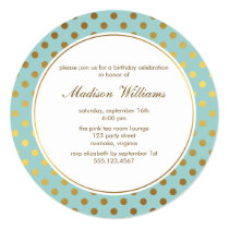 Mint Faux Gold Foil Polka Dots Pattern Invitation
