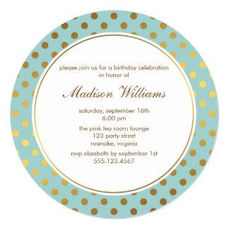 Mint Faux Gold Foil Polka Dots Pattern Invite