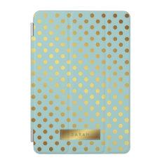 Mint Faux Gold Foil Polka Dots Pattern iPad Mini Cover at Zazzle
