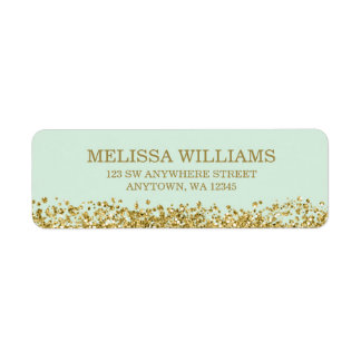Mint Faux Gold Glitter Label