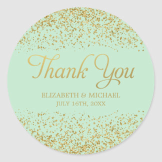 Mint Faux Gold Glitter Wedding Thank You Classic Round Sticker