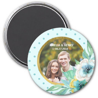 Mint Faux Gold, Watercolor Floral Wedding Photo Magnet
