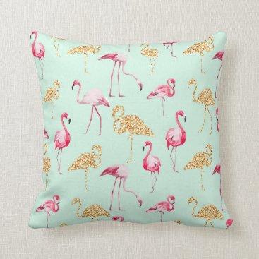 stylish_home Mint, Flamingo Print. Throw Pillow