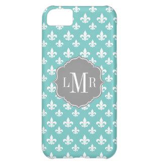 Mint Fleur De Lis Pattern Monogram iPhone 5C Cases