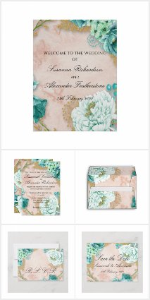 Mint Floral and Blush Pink Wedding