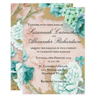 Mint Floral and Blush Pink Wedding Invitation