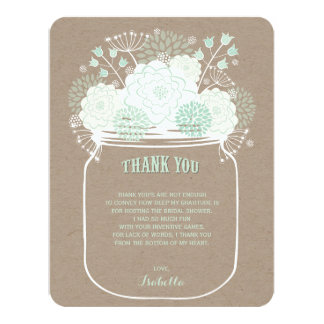 Mint Floral Blooms Mason Jar Wedding Thank You 4.25x5.5 Paper Invitation Card