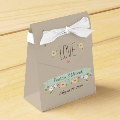 Boho Rustic Floral Wreath Wedding Mint Favor Box