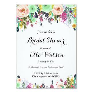 Mint Floral Bridal Shower Invitation