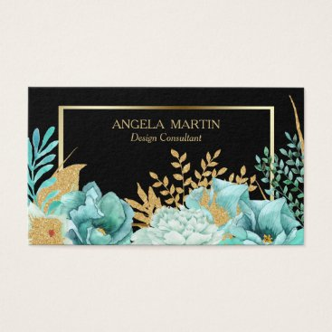 Professional Business Mint Floral Gold Frame Professional Business Card