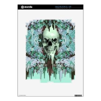 Mint floral sugar skull skin for iPad 2
