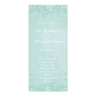 Mint floral swirl Wedding Program