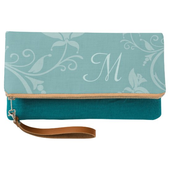 Mint Flourish Monogram Clutch