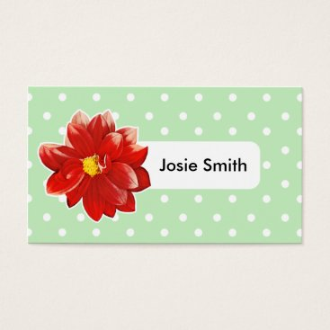Professional Business mint flower green pink red polkadot Business Card