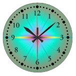 Mint Flower Wall Clock
