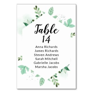 Mint Foliage Wedding Reception Guest Seating Chart Table Number