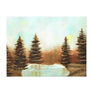 Mint Forest Oil Painting, Pastel Evening Landscape Canvas Print