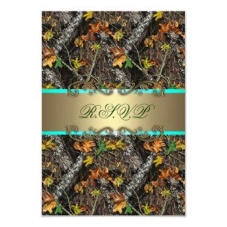 Mint Formal Camo Wedding RSVP Cards