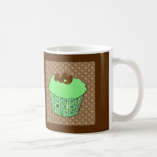 Mint Frosted Chocolate Cupcake, Fractal Background Coffee Mug