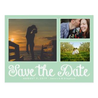 Mint Fun Chalk Save The Date Collage Postcard