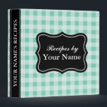 """Mint gingham recipe binder 