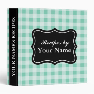 Mint gingham recipe binder | personalized cookbook