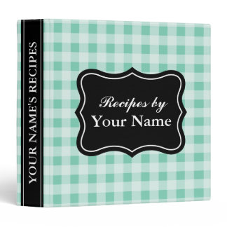 Mint gingham recipe binder | personalized cookbook