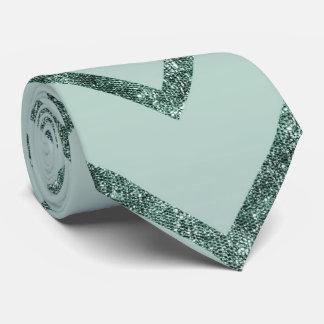 Mint Glam Chevron Zigzag Stripes Tie