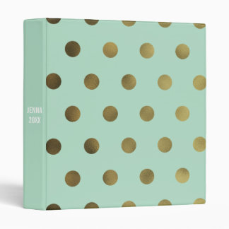 Mint Glam Faux Gold Polka Dot Custom 3 Ring Binder