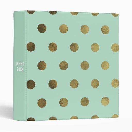 mint glam faux gold polka dot custom 3 ring binder zazzle