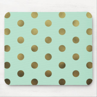 Mint Glam Faux Gold Polka Dots Modern Mousepad