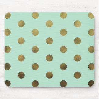 Mint Glam Faux Gold Polka Dots Modern Mousepad