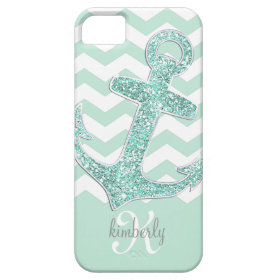 Mint Glitter Anchor White Chevron Personalized iPhone 5 Cases