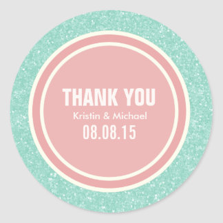 Mint Glitter & Coral Pink Thank You Round Stickers