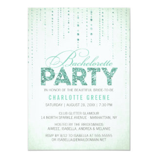 Mint Glitter Look Bachelorette Party Invitation