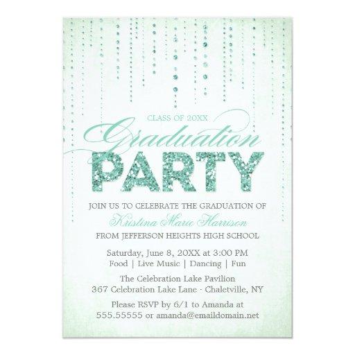 Mint Glitter Look Graduation Party Invitation