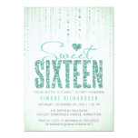 Mint Glitter Look Sweet 16 (Sixteen) Party 5x7 Paper Invitation Card