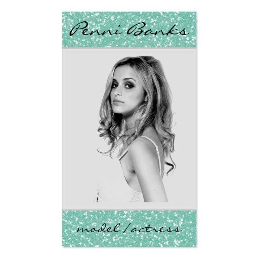 Mint Glitter Model Actress Singer Business Cards