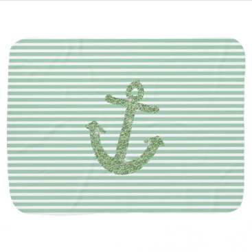 Beach Themed Mint Glitter Nautical Anchor Stroller Blanket