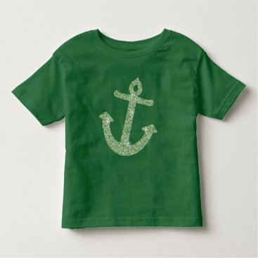 Beach Themed Mint Glitter Nautical Anchor Toddler T-shirt