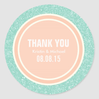 Mint Glitter & Peach Thank You Round Stickers