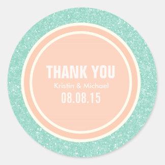 Mint Glitter & Peach Thank You Round Stickers