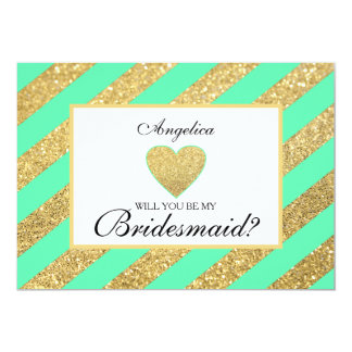 Mint Glitter Will You Be My Bridesmaid Invite