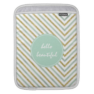 Mint Gold and White Chic Chevron Beautiful Sleeve For iPads