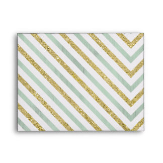 Mint Gold and White Chic Chevron Thank you Envelope