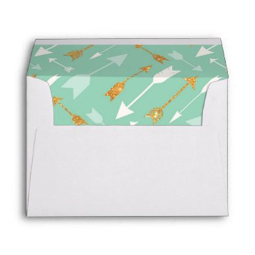 Aztec Themed Mint Gold Arrows Tribal lined, matching Envelope