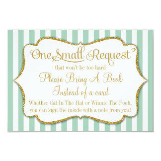 Mint Gold Baby Shower Book Card Bring A Book