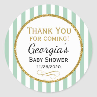 Mint Gold Baby Shower Thank You Coming Favor Tags