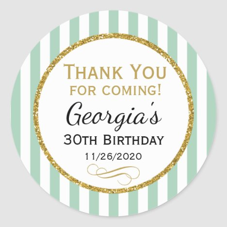 Mint Gold Birthday Thank You For Coming Favor Tags